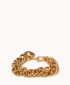 Gold charm bracelet with locket heart! Forever21!