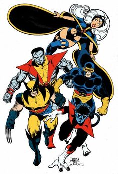 X-Men (Storm, Colossus, Cyclops, Wolverine, and Nightcrawler) by John Byrne Comic Book Artists, Comic Book Characters, Comic Book Heroes, Comic Artist, Comic Character, Comic Books Art, Marvel Comics Art, Marvel Dc Comics, Marvel Heroes