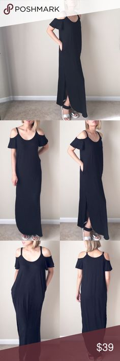 "Black summer maxi dress. With pockets. Made in USA Trendy maxi dress. Full lengthy, with split open side. More..side pockets! Made with soft knot non sheer fabric. Length 56"" long. 95%rayon 5%spandex. MADE IN USA. NO TRADE. Also comes in gray and navy. Limited! Dresses Maxi"