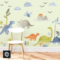 Dino Kit is a set of Mej Mej fabric wall decals from the Dino children's decor collection. Nursery Wall Decor, Bedroom Decor, Boy Room, Kids Room, Die Dinos Baby, Dinosaur Bedroom, Jungle Bedroom, Dinosaur Wall Decals, Printed Cushions