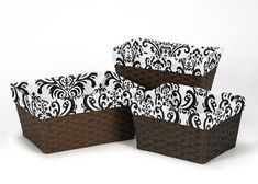 Boxes and Storage 117398: Black And White Damask Organizer Storage Basket Liners Fit Small Medium Large Bin -> BUY IT NOW ONLY: $34.99 on eBay!
