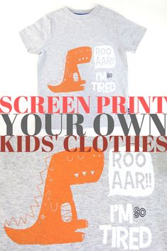Fancy creating your own dinosaur kids clothes for the little T-Rex in your life? Now you can print your own children's clothes using Screen Sensation's home screen printing kit. This fantastic dinosaur T-shirt is just one of the designs you can create with Screen Sensation - available at Create and Craft! Create And Craft, Create Your Own, Diy Screen Printing, Baby Prints, Homescreen, T Rex, Kids Shirts, Paper Crafts, Fancy