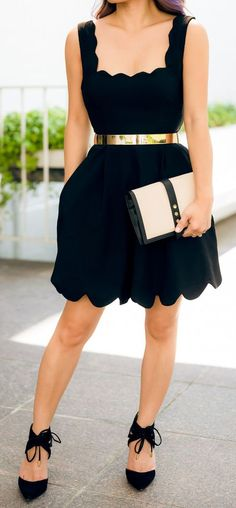 Cute date night outfit...scalloped dress