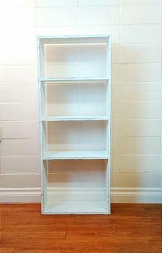 Rustic wood bookcase, shabby chic white bookshelf, decorative wooden organizer, home decor, shelving, storage by SageFineArt on Etsy