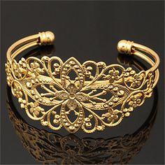 kvinder kølige vintage hule blomst armbånd 18k chunky guld platin forgyldt manchet armbånd armbånd for kvinder – DKK kr. 30