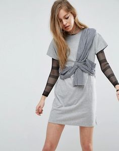 ASOS T-Shirt Dress with Gingham Bustier Wrap Detail
