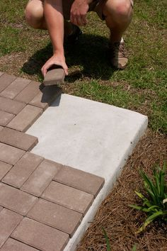 """Pavers Are you tired of looking at a boring concrete patio, pool deck, walkway or steps? Bring new life with thin pavers! Our thin """"remodeling"""" pavers are specially designed for overlaying existing concrete patios, walks & pool decks. Pavers Over Concrete, Concrete Walkway, Concrete Steps, Brick Pavers, Pavers Patio, Brick Steps, Stamped Concrete Patios, Concrete Patio Extension Ideas, Concrete Patio Resurfacing"""