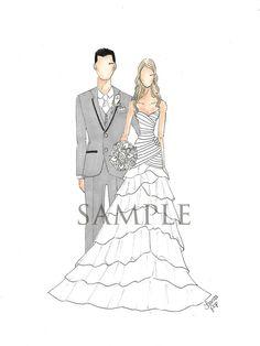 Custom Bride & Groom Illustration by joannapop on Etsy, $100.00
