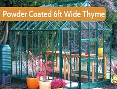 """6ft3"""" wide in multiple lengths. Premium Greenhouse. Painted version of the 6ft wide Thyme. Thanks to it's elegant 12"""" wide glass panels, the Thyme is immensely strong"""