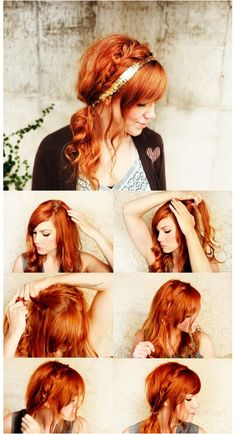 Not the color and no headband, but maybe I can try something like this with my hair for sister's wedding...