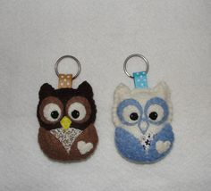 Wool Felt Owl Keyholder, Owl Keychain, Felt Owl, Keyring, Blue Owl, Brown Owl, Gift Bag, Charm, Decor, Birthday Gift, Felt Animal, Bag Charm by NitaFeltThings on Etsy https://www.etsy.com/uk/listing/293977139/wool-felt-owl-keyholder-owl-keychain