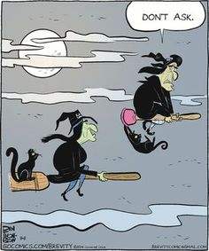 Brevity by Dan Thompson for September 2014 Bewitching Halloween Humor! Halloween Humor, Halloween Cartoons, Fall Halloween, Happy Halloween, Halloween Witches, Halloween Images, Funny Cartoons, Funny Jokes, Hilarious