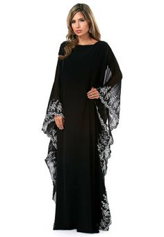 Elegantly stunning, this kimono styled abaya features silver lace trims and sheer sleeves. Perfect for casual evening gatherings, via http://www.Pinterest.com/myrunwayfashion/