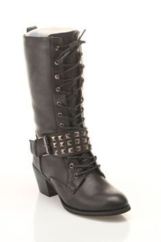 Black Studded Lace Up Boots / Bucco