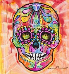 Sugar Skull - Day of the Dead Poster Print by Dean Russo Fantasy Art Magical Modern Pop Holiday Halloween Skeleton Day of the Dead Skull