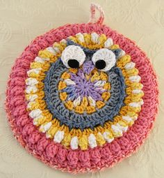 Crocheted Owl Hot Mat Trivet Pot Holder Coral, Yellow, Lavender Sunrise, Sunset by TilliesGifts on Etsy