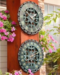 Add some elegance to your patio with a Copper Outdoor Clock & Thermometer.
