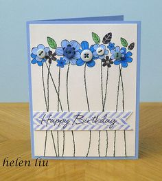 handmade card: Birthday Card by helenshiau . row of flowers with button centers long stitched stems . HAPPY BIRTHDAY on top of chevron stamped banner . Handmade Birthday Cards, Happy Birthday Cards, Greeting Cards Handmade, Card Birthday, Birthday Quotes, Birthday Ideas, Pretty Cards, Cute Cards, Karten Diy