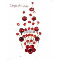 Peineta con cristal en tono plateado con detalles en tono rojo estilo 2274