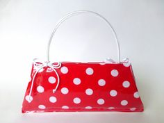 Retro bag Mad Men style vinyl purse with bows Handmade by Olimoti, $79.00