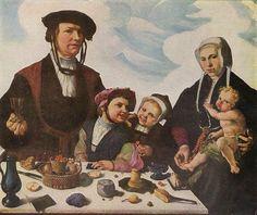 Artist: Maarten van Heemskerck (1498–1574) Title Deutsch: Porträt einer Familie Date before 1532 Medium color on wood
