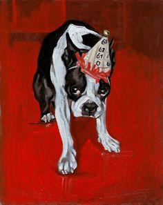 11X14 BOSTON TERRIER TULIPS Green BG Dog Art PRINT of Original Painting by VERN