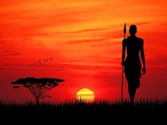 Pixxprint Red Sunset in Africa Graphic Print on Canvas graphicprints Red Sunset in Africa Graphic Print on Canvas Pixxprint Size 80 cm H x 120 cm W African Artwork, African Art Paintings, Red Sunset, Sunset Art, Africa Painting, Africa Drawing, Afrique Art, African Sunset, Silhouette Art
