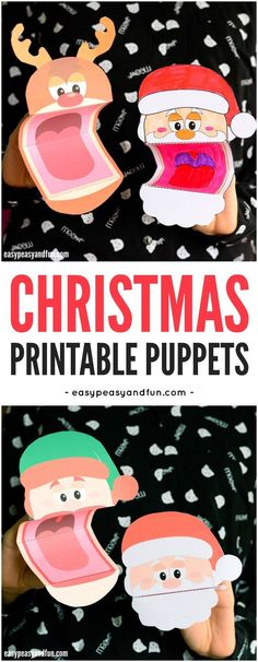 Printable Christmas Puppets for Kids. A fun Christmas craft for kids to make and play with. #Christmascraftsforkids #Papercraftsforkids #printablepuppets