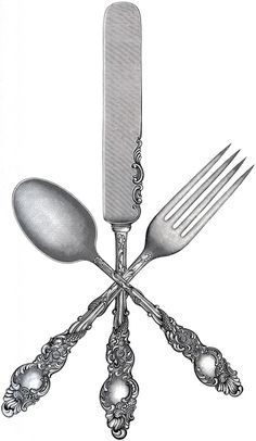 Shown here is a set of utensils, including a Fork, Knife and Spoon, with very ornate handles! Description from thegraphicsfairy.com. I searched for this on bing.com/images