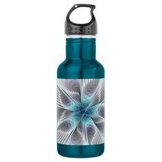 Elegance, Modern Blue Gray White Fractal Flower Water Bottle