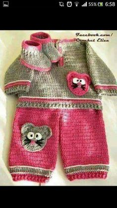 Crochet pants and sweater set for baby