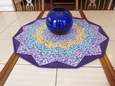 Round Quilted Centerpiece Quilts For Sale, Bright Flowers, Custom Quilts, Flower Petals, Collaboration, Centerpieces, Display, Board, Fabric