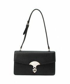 style #330090601 Pre-owned: black leather gancini shoulder bag