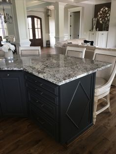 BM Wrought iron on island. Granite is called Lennon. Stools are Kent Swivel Counter Stools from Frontgate. Farmhouse Kitchen Cabinets, Granite Kitchen, Farmhouse Style Kitchen, Modern Farmhouse Kitchens, Kitchen Cabinet Design, Home Decor Kitchen, Slate Kitchen, Kitchen Ideas, Kitchen Paint