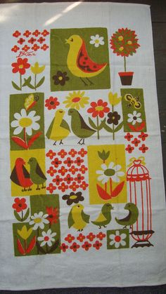 Lovebirds vintage tea towel