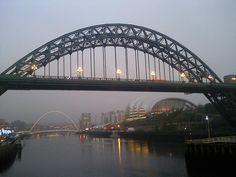 The Tyne Bridge in Newcastle upon Tyne, England. Walking along the River Tyne at dusk: http://www.europealacarte.co.uk/blog/2011/12/29/newcastle-bridges/