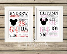 Mickey Mouse or Minnie Mouse theme Baby Birth Announcement Prints! Available in any colors. Great baby gift - under $20! www.koalaprintworks.etsy.com