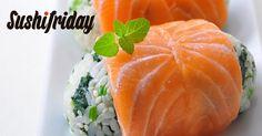 Bolitas de sushi con Salmón Noruego fresco y espinacas