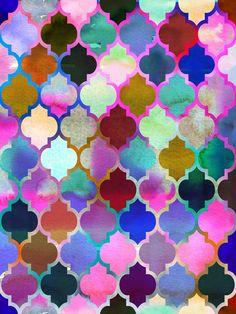 Marrakech Market (mix) Art Print by schatzibrown #Moroccan #tile #pattern #watercolor  #schatzibrown
