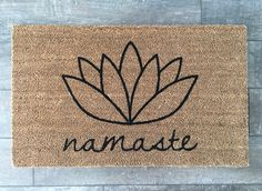 Namaste, lotus flower doormat. Hand painted outdoor welcome mat for front or back entry shows your personality! Perfect for the yogi in you!