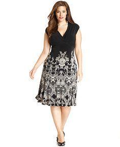 Jones New York Plus Size Dress, Cap-Sleeve Printed - Plus Size Dresses - Plus Sizes - Macy's