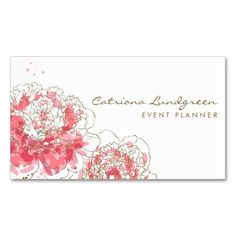 Watercolor Peonies Chic Business Card. This is a fully customizable business card and available on several paper types for your needs. You can upload your own image or use the image as is. Just click this template to get started!