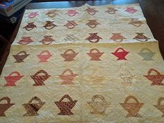 Lovely Antique Baby Quilt Hand Machine Sewn Basket Design Feedsack Fabric VG | eBay, one.moon