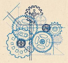"Gears in Embroidery Pattern, ""Blueprint Cogs"" for Gear Theme stitching projects, Via Urban Threads"