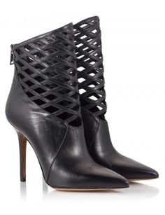 98542d238577 Fratelli Karida Black leather cut-out single sole pointy stiletto ankle  boots