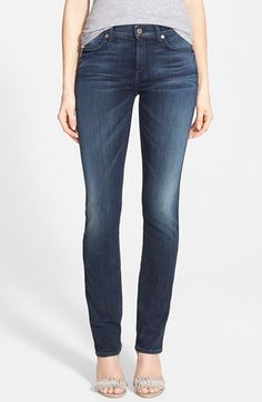 7 For All Mankind® Modern Straight Jeans (Whiskered Medium Dark) available at #Nordstrom