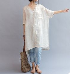 summer Women linen Loose Fitting Linen Long Shirt by MaLieb, $99.00