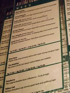 Weed menu 1 at Grey Area