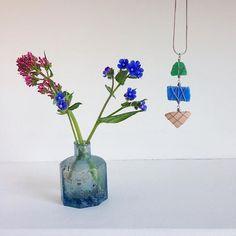 Sea glass, beach plastic & ceramic necklace ✨ #beachbling
