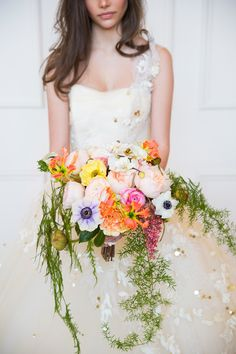Spectacular Colorful Wedding Bouquet! See more here: http://www.StyleMePretty.com/canada-weddings/2014/05/15/gold-apricot-inspiration-shoot/ Floral Design: CathyMartinFlowers.com - Photography: GeminiPhotographyOntario.com